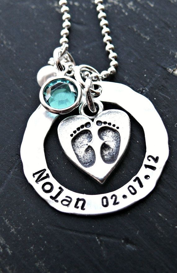 Pezebel Personalized Custom Mom Heart Symbol Necklace and Baby Feet