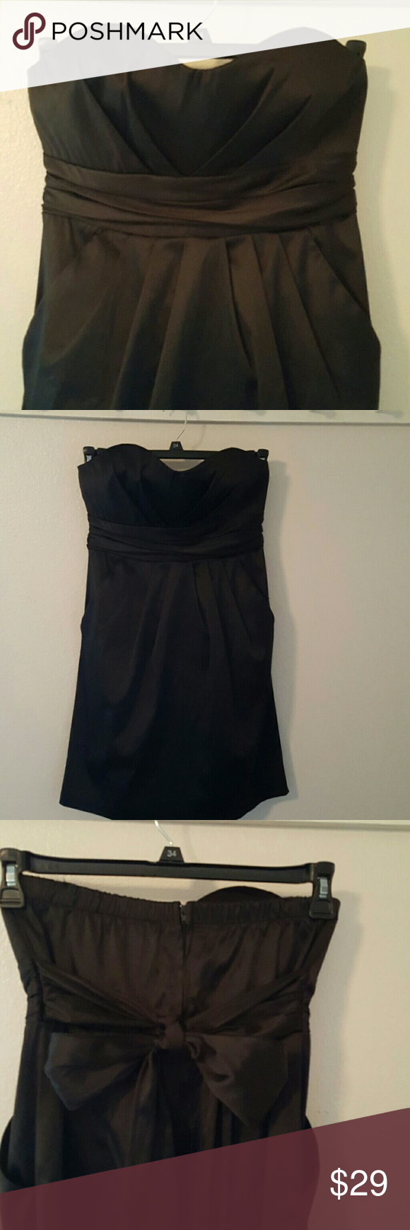 Donated strapless black cocktail dress black prom