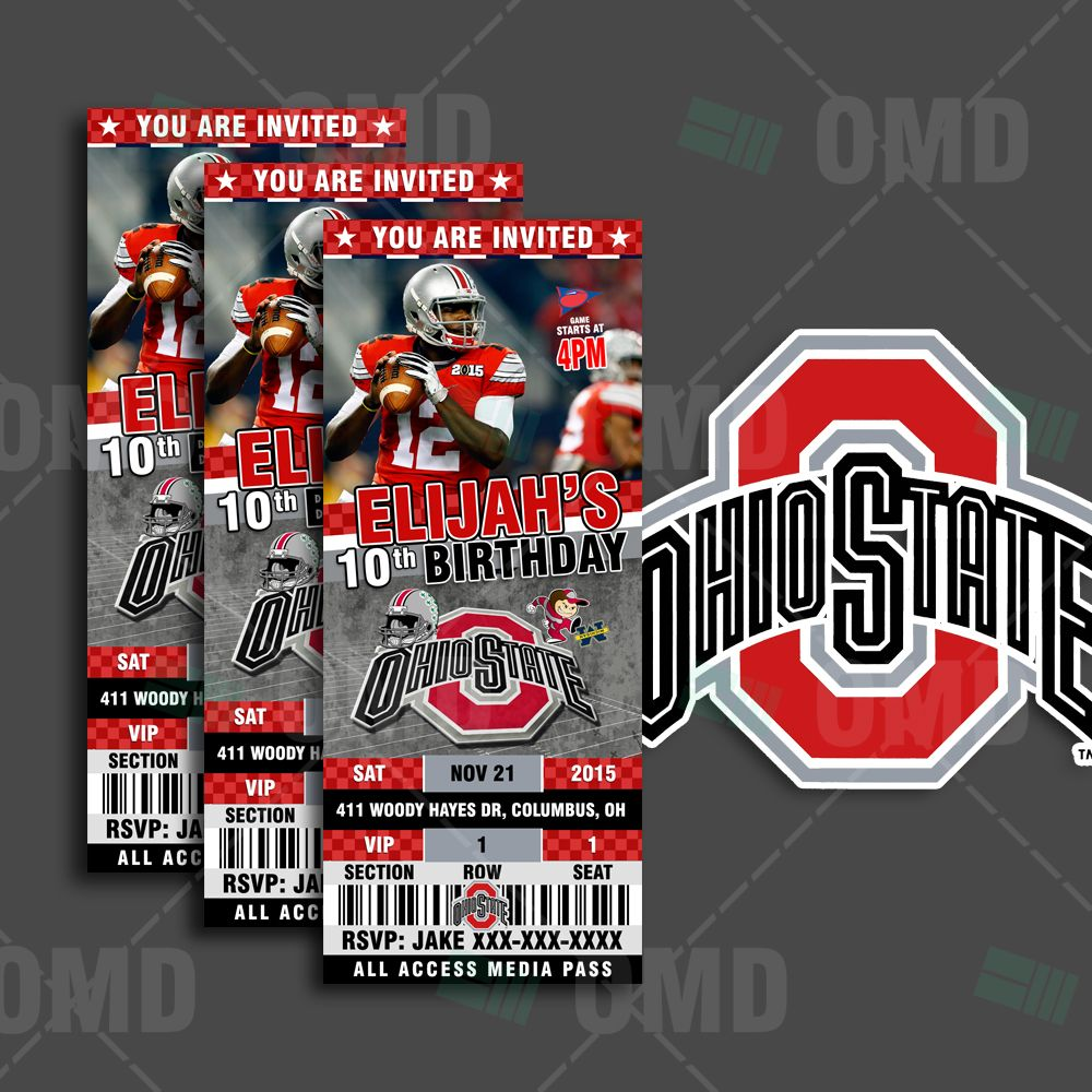 Ohio State Buckeyes Ticket Style Sports Party Invitations