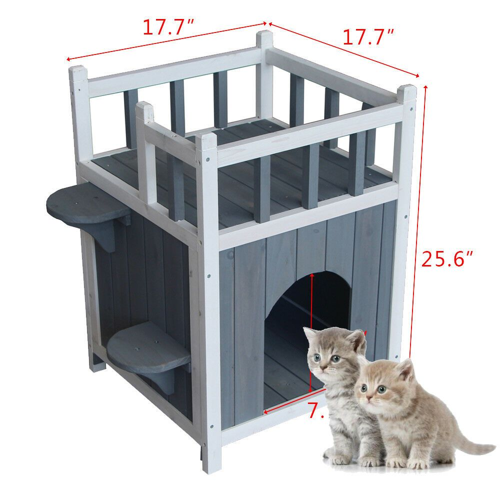 Wooden Cat Home With Balcony Pet House Small Dog Indoor Outdoor Shelter Ca 450 Wooden Cat House Cat House Diy Cat House