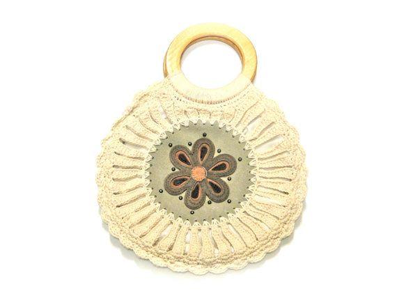 Vintage Handbag 1960s Mod Macrame Cream Color by SueEllensFlair