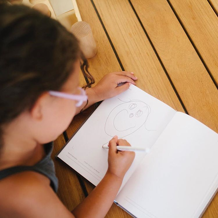Your children's artwork has a safe place in our journals! Let your tiny artist doodle in their journal. Something they'll surely treasure looking back on✏️ | Promptly Journals