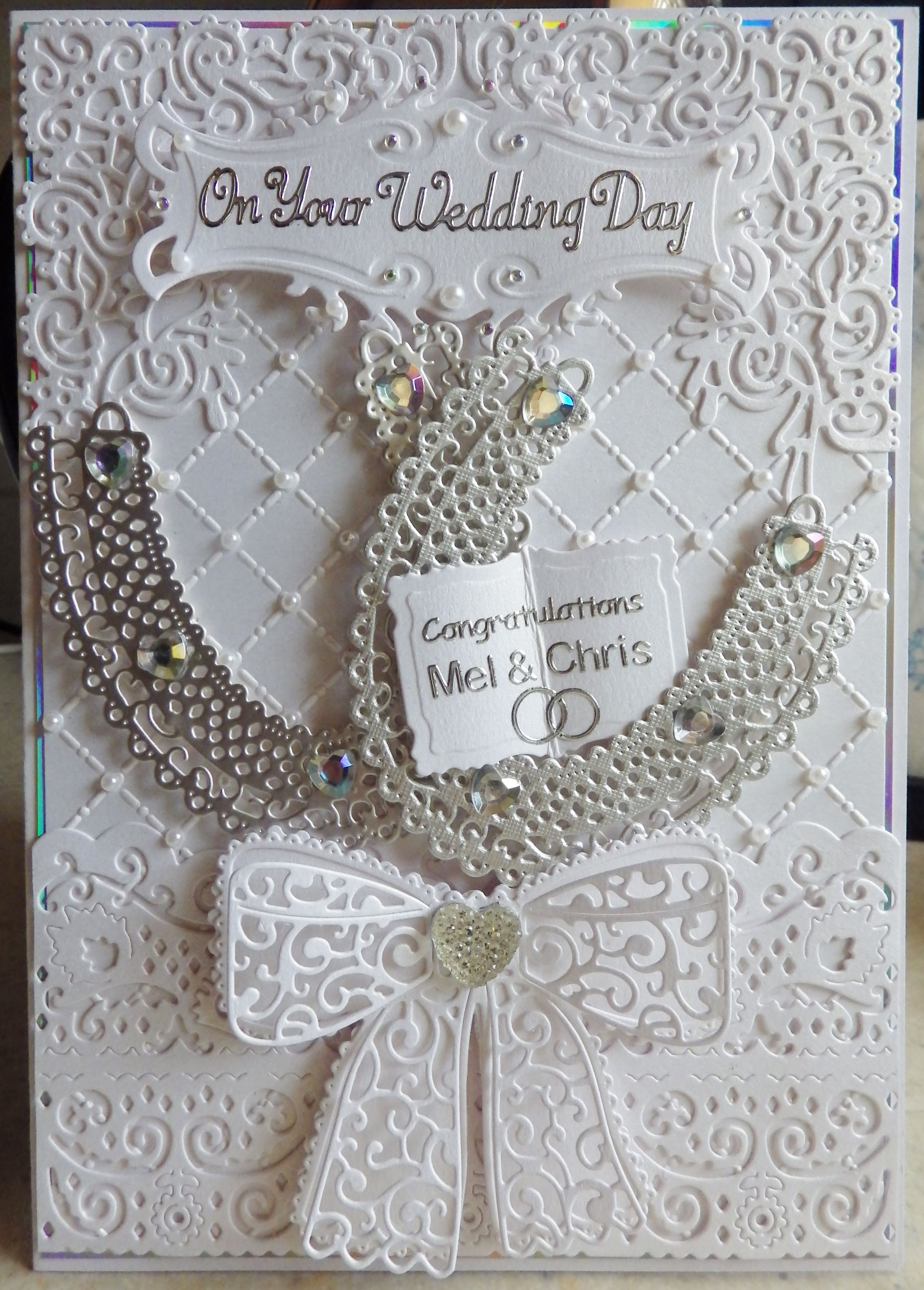 How to scrapbook wedding cards - Tattered Lace Wedding Card