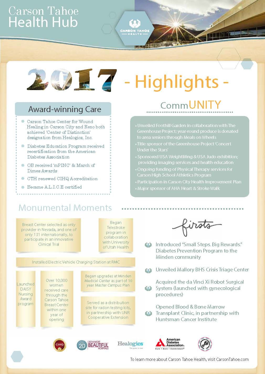 Carson tahoe health in 2017 was alive with highlights and