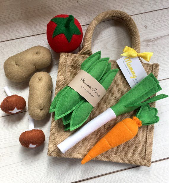 Rollenspiel Filz Essen Gemüse Sammlung mit Mini Jute-Einkaufstasche #felttoys