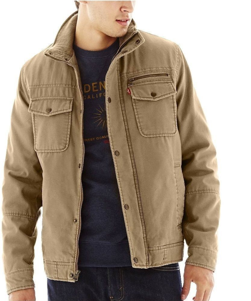 Levi's Twill Trucker Jacket cotton sherpa fleece-lined khaki men's ...
