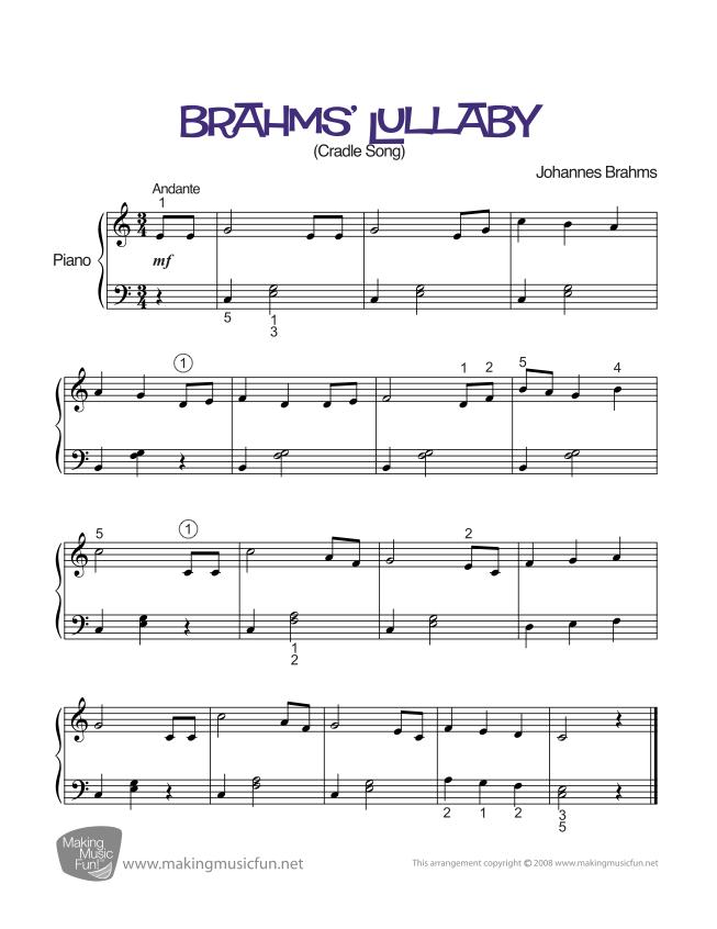 Brahms' Lullaby | Easy/Intermediate Piano Sheet Music (Digital ...