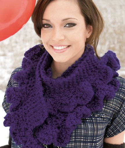Scarf With Frills Knitting Pattern Red Heart Knit Scarf