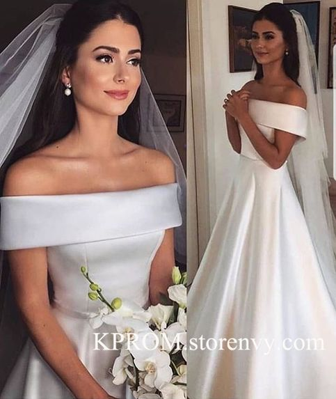 Photo of Simple Strapless A-Line Satin Wedding DressesLong White Bridal GownSleeveless Wo…