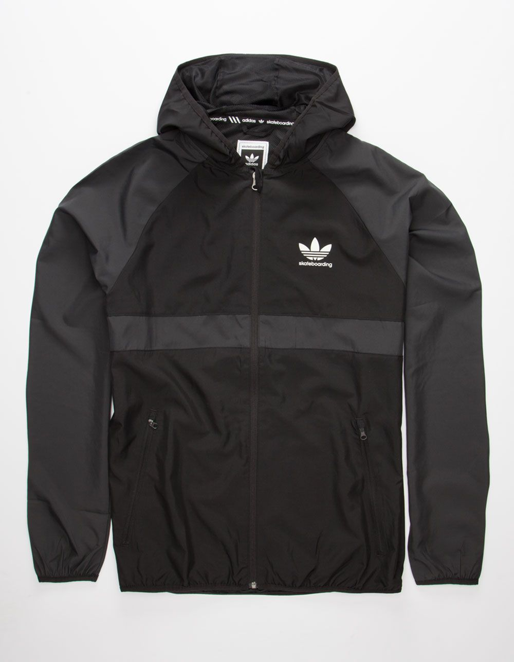 best website d14ff 2b7de Adidas ADV climaproof hooded windbreaker. Zip front. Pieced tricolor  construction with Adidas Skateboarding logo screened at left chest.