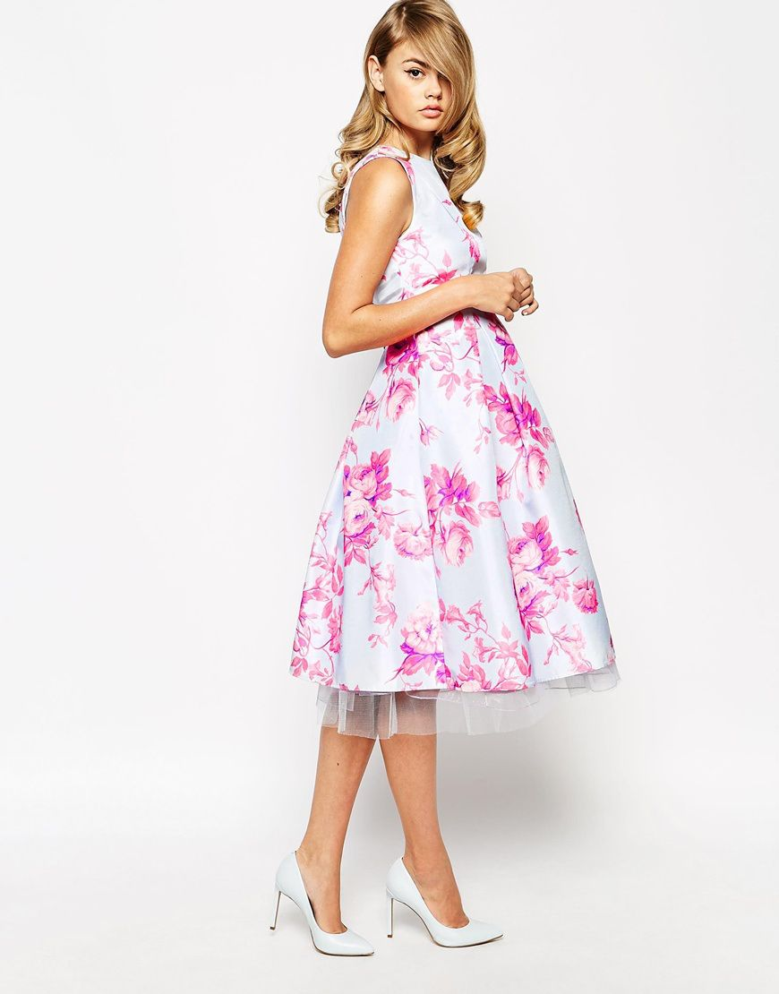 True Violet Sateen Floral Print Debutante Prom Midi Dress, from asos ...