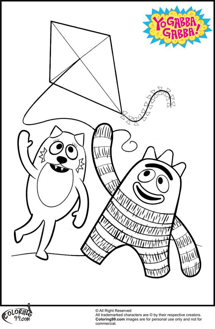 Free coloring pages yo gabba gabba - Yo Gabba Gabba Toodee Coloring Pages Coloring99 Com