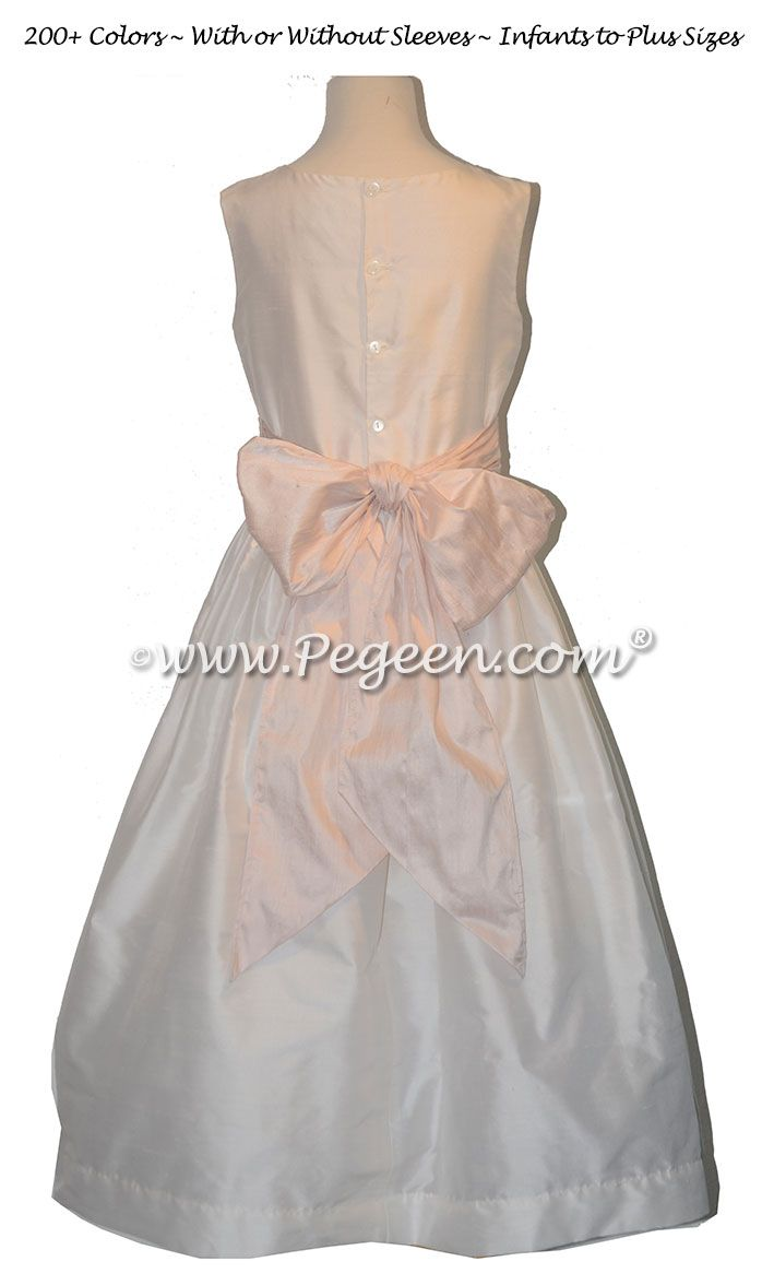 Ivory With A Baby Pink Silk Sash Flower Girl Dress Style 398 Blush