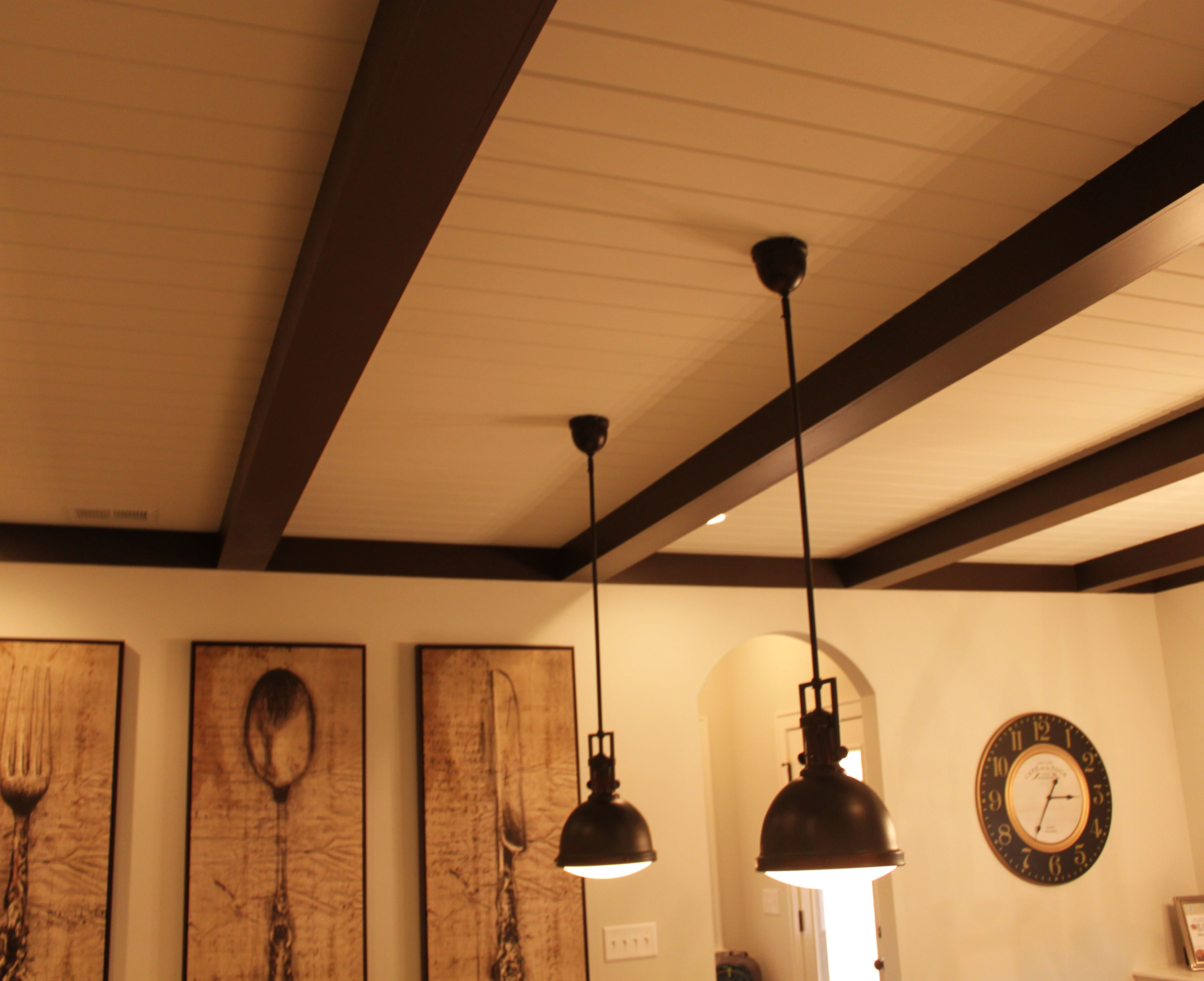 Tongue groove ceilings with painted 6x6 wood beams for Beamed ceiling
