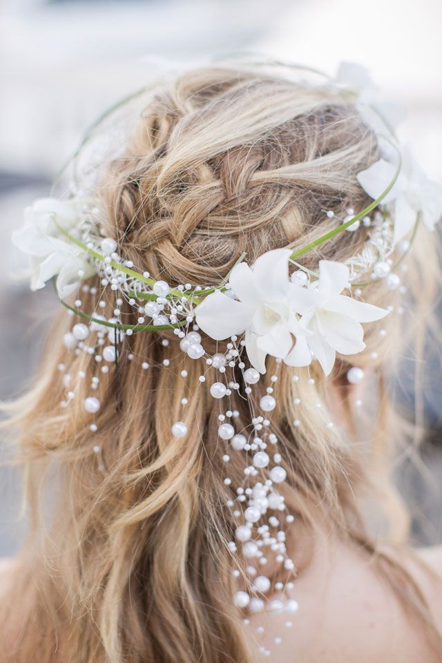 floral crown with pearls | Heidi Calma Photography: http://heidicalma.com