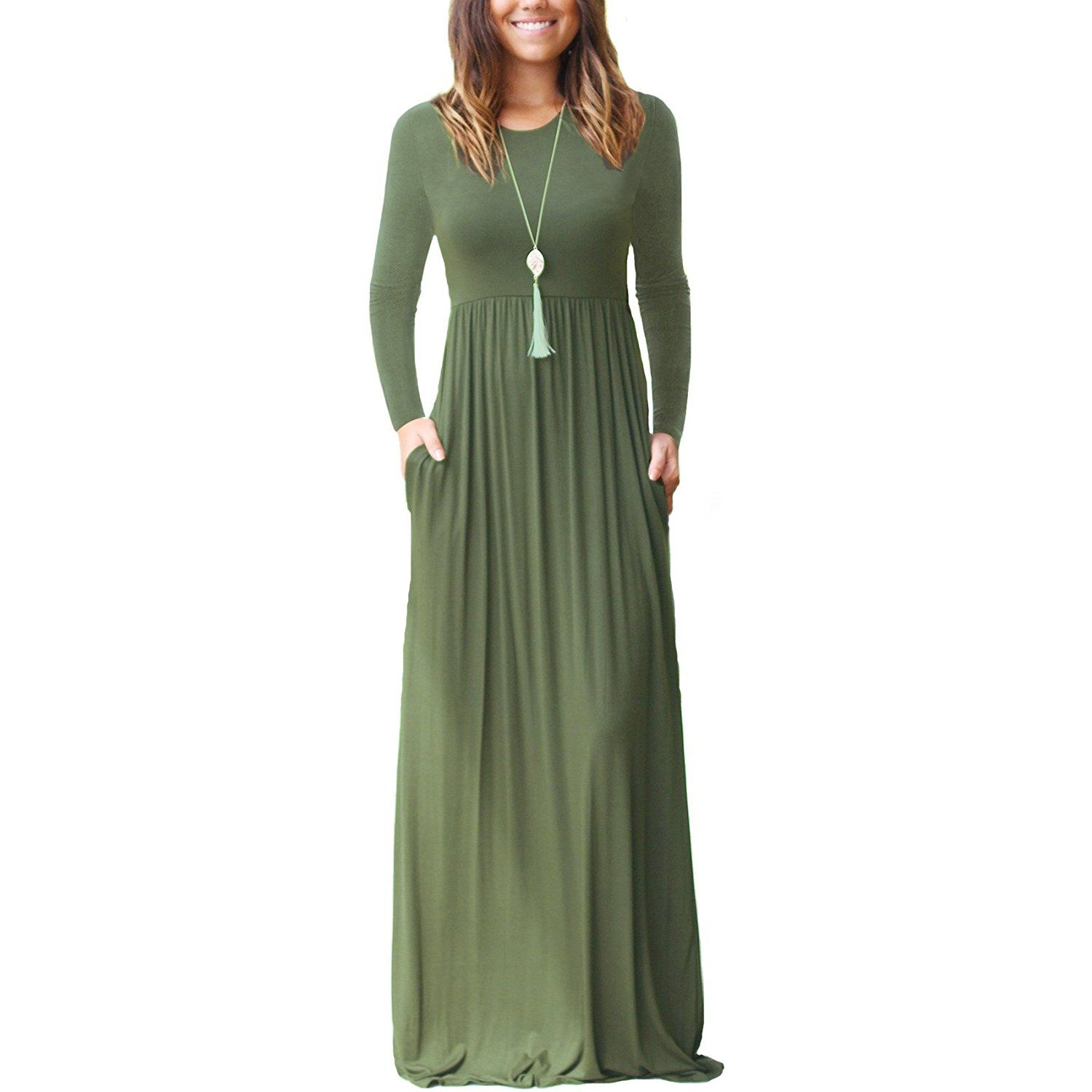 GRECERELLE Womens Long Sleeve Loose Plain Maxi Dresses Casual Long Dresses Wite Pockets