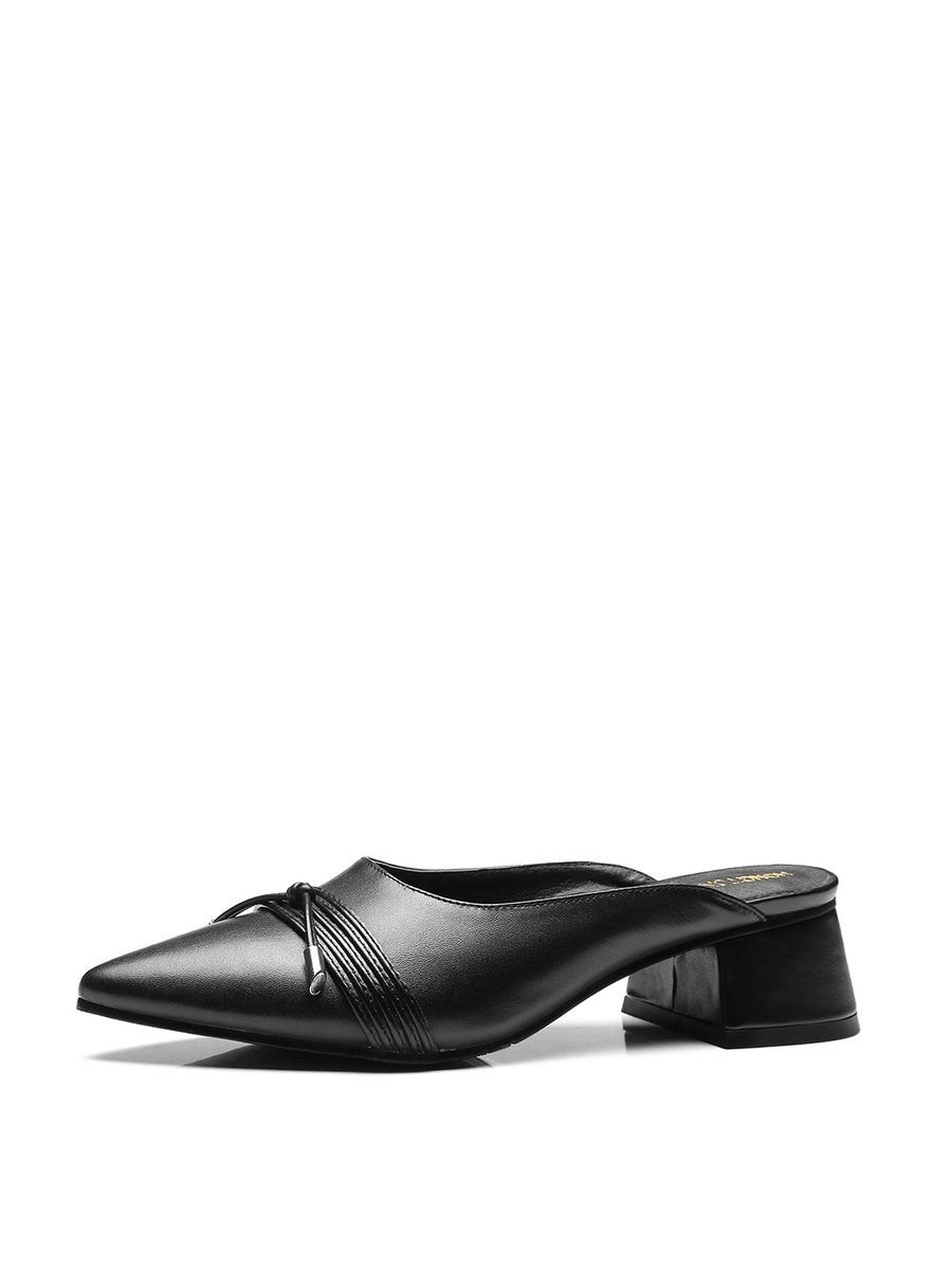 #AdoreWe #StyleWe Designer Slippers - Designer HONGTONGBOLU Black Leather Chunky Heel Casual Slippers - AdoreWe.com