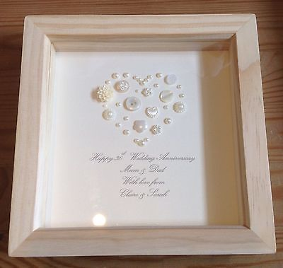 Handmade 30th Pearl Wedding Anniversary Gift Present Keepsake Personalised Pearl Wedding Anniversary Gifts Pearl Crafts Anniversary
