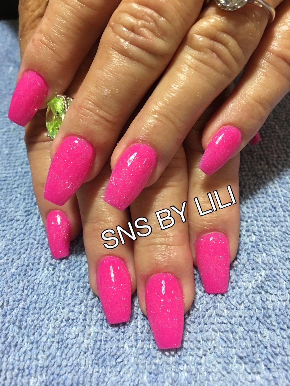 Hot Pink Sns Nails Dipping Powder By Lili Sns Nails Sns Nails Colors Angel Nails