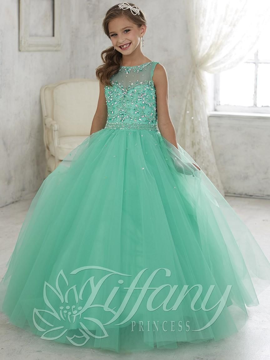 f6c2ccd7c3 Flower Girl Dresses Champagne Beautiful Mint Green Ball Gown Girls Pageant  Dress Lace Up Back Kids Evening Gowns 2016 Lovely Flower Girl Dress Flower  Girl ...