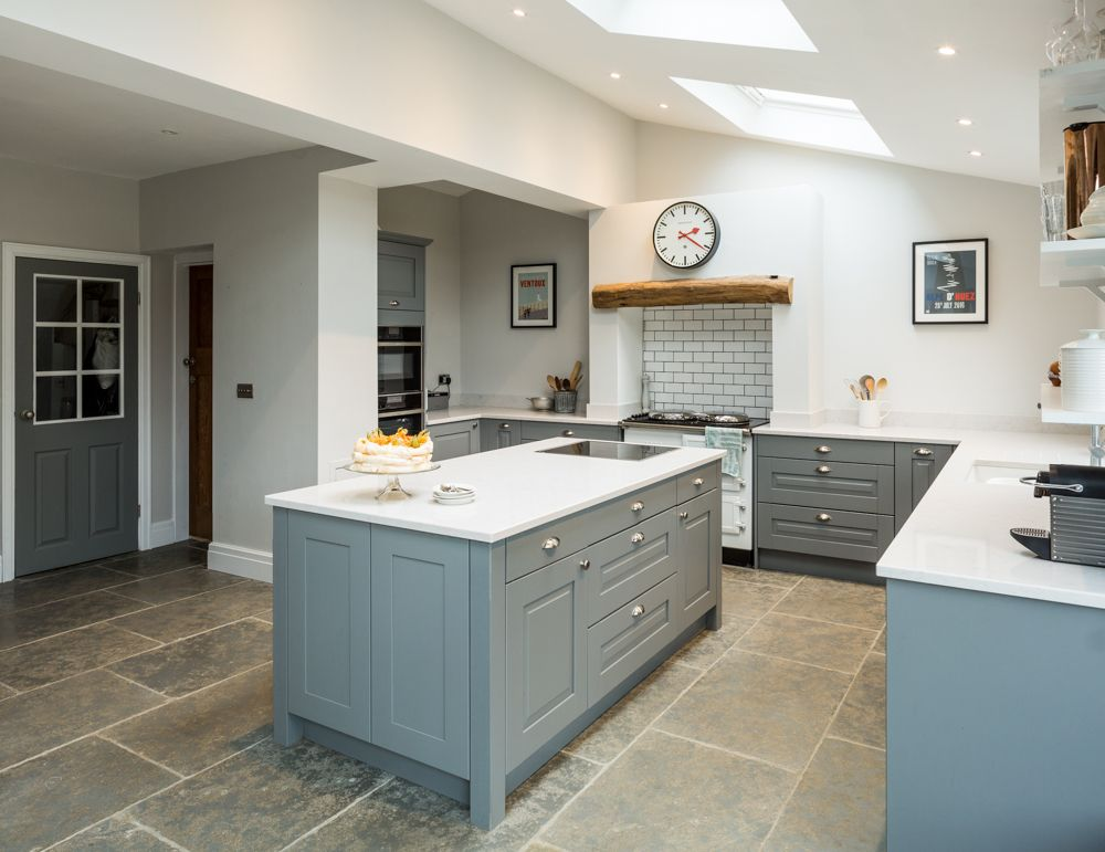 Painted mid-grey shaker kitchen cabinets with white quartz ...