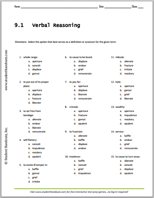 Vocabulary List 9 1 Verbal Reasoning Worksheet Free To Print
