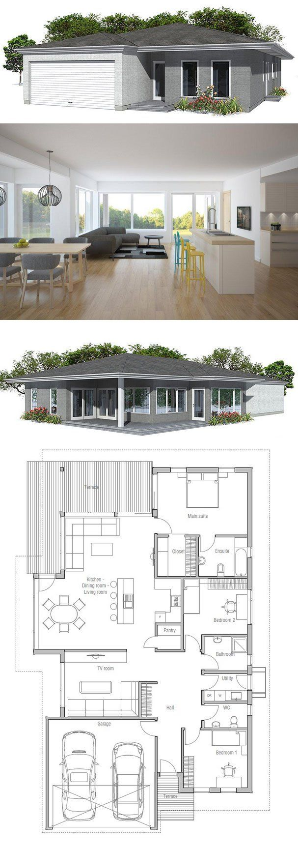 Modern House Plan With Covered Terracegarage For Two Cars Simple Dining Room Floor Plans Review