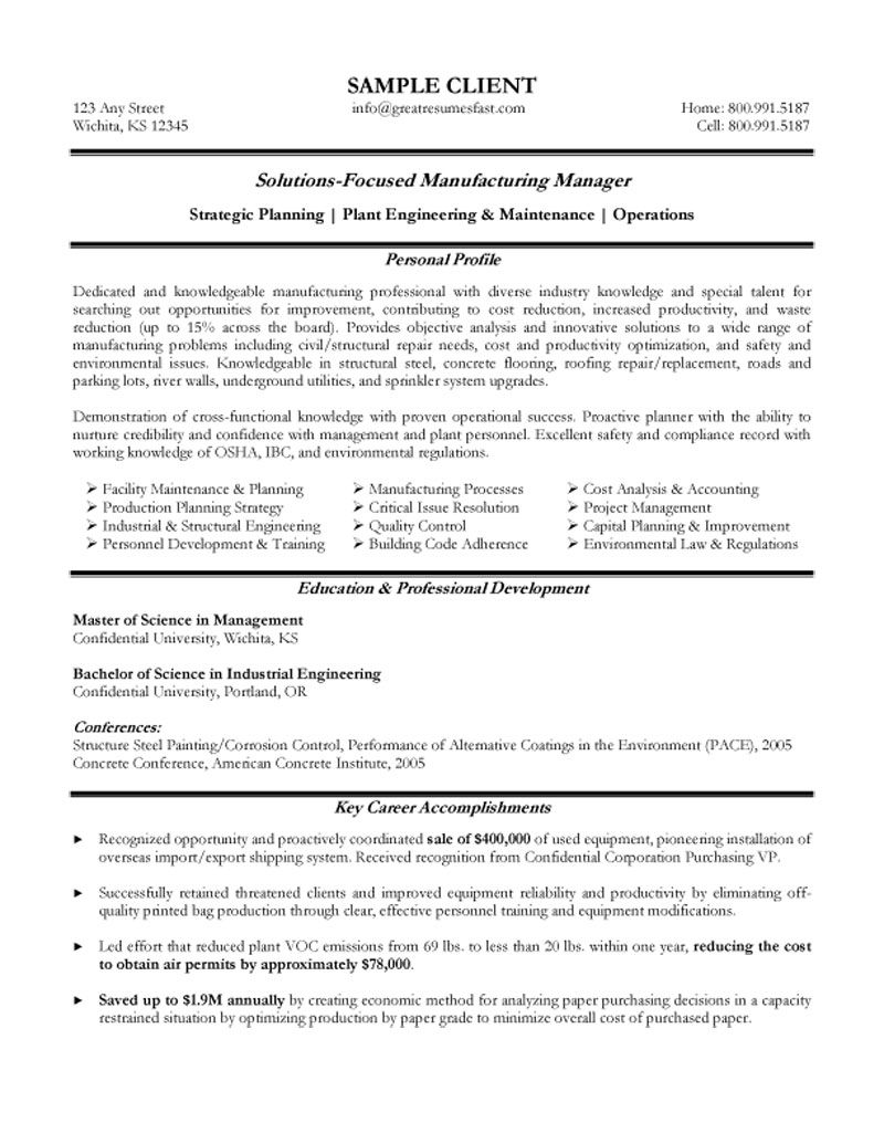 Wonderful Manufacturing Manager Resume Example