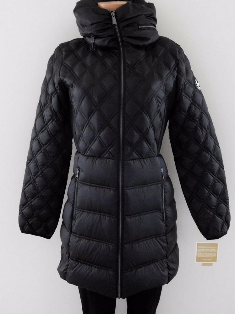 2a57c9faa New Michael Kors Quilted Hooded Down Packable Puffer Coat Black Size ...