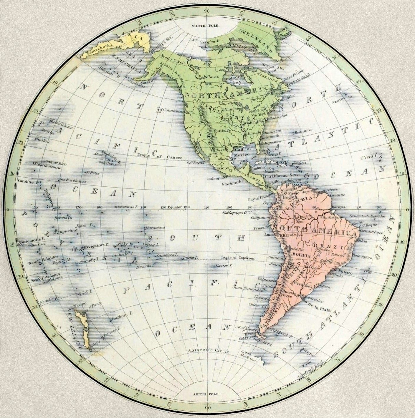 Map Of The Western Hemisphere Engraving By G W Boynton