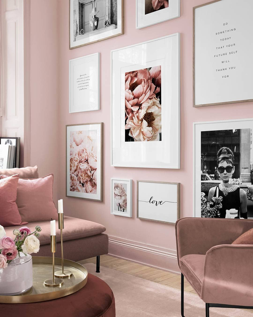Pink Perfection Designs Cheers 50x70 Cm Soft Peony 30x40 Cm In A 40x50 Cm Frame You Are 30x40 Cm In A 40x Pink Living Room Home Decor Home