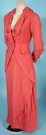 c. 1912 Titanic Era Coral Textured and Embroidered Walking Suit