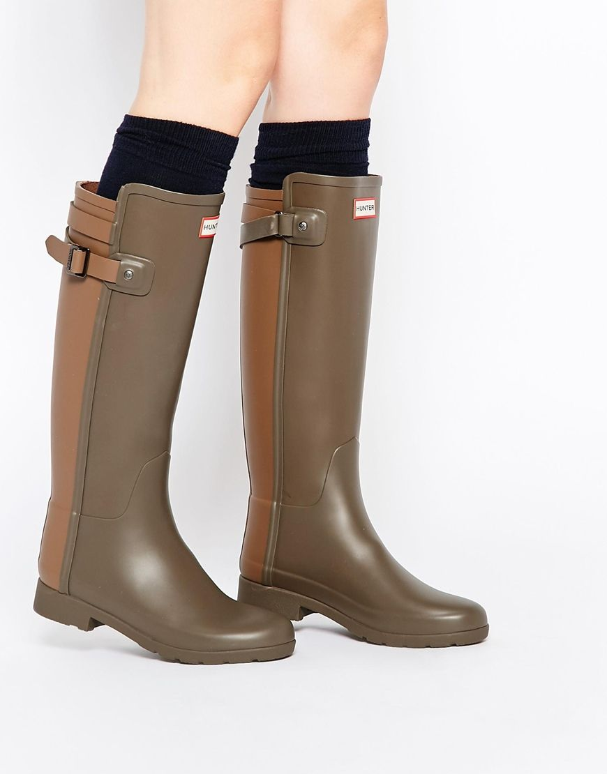 Hunter Original Womens Green Refined Wellies shoes online hot sale