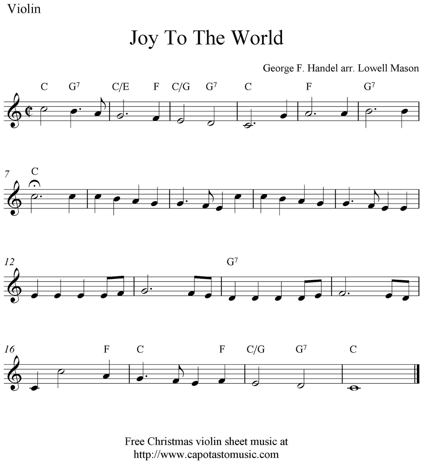 Joy To The World, free Christmas violin sheet music notes ...