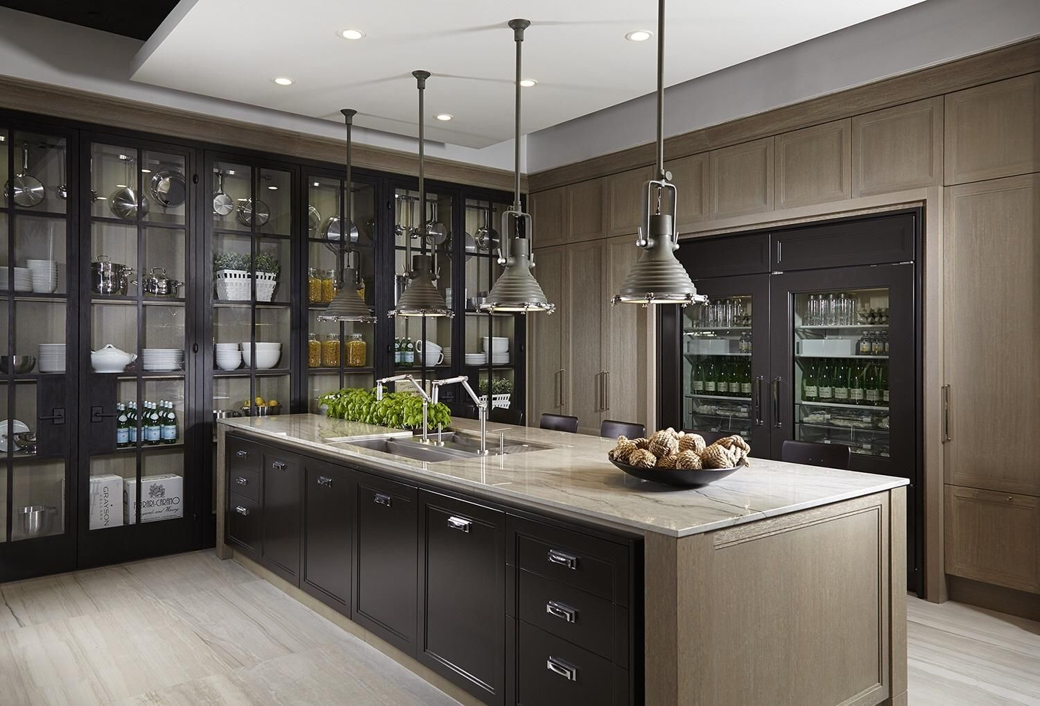Gorgeous kitchen with display cabinets | Transitional ...
