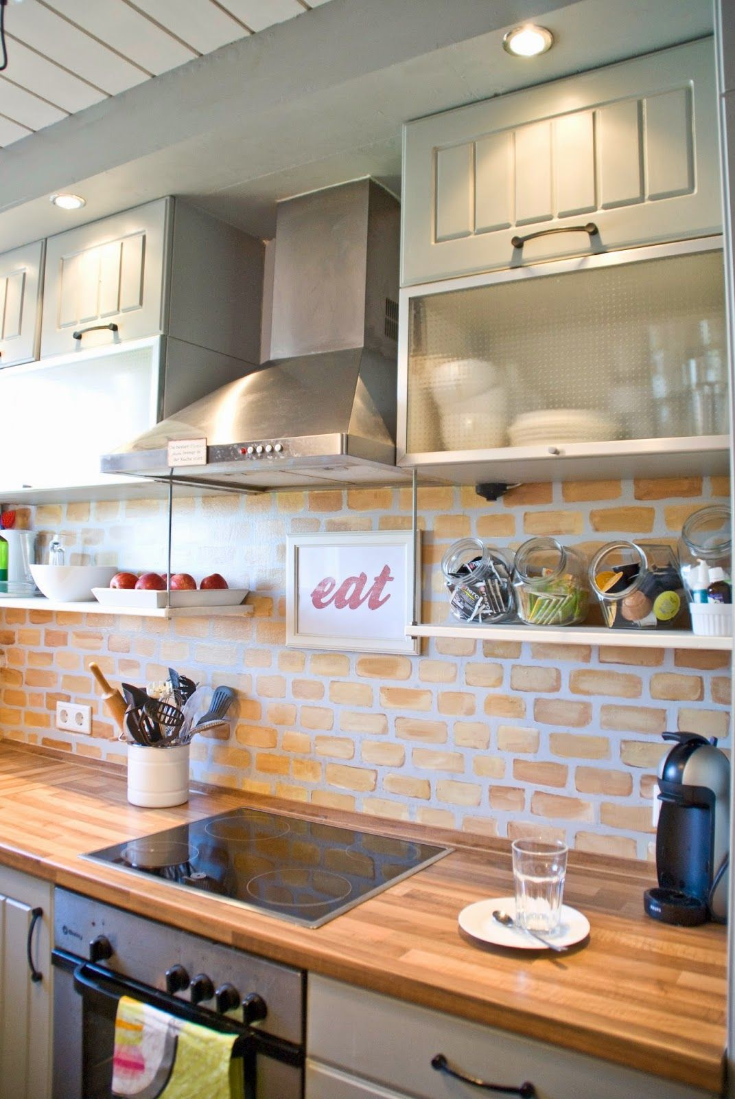 Painted Faux Brick Backsplash With Wood Countertops Pudel Design