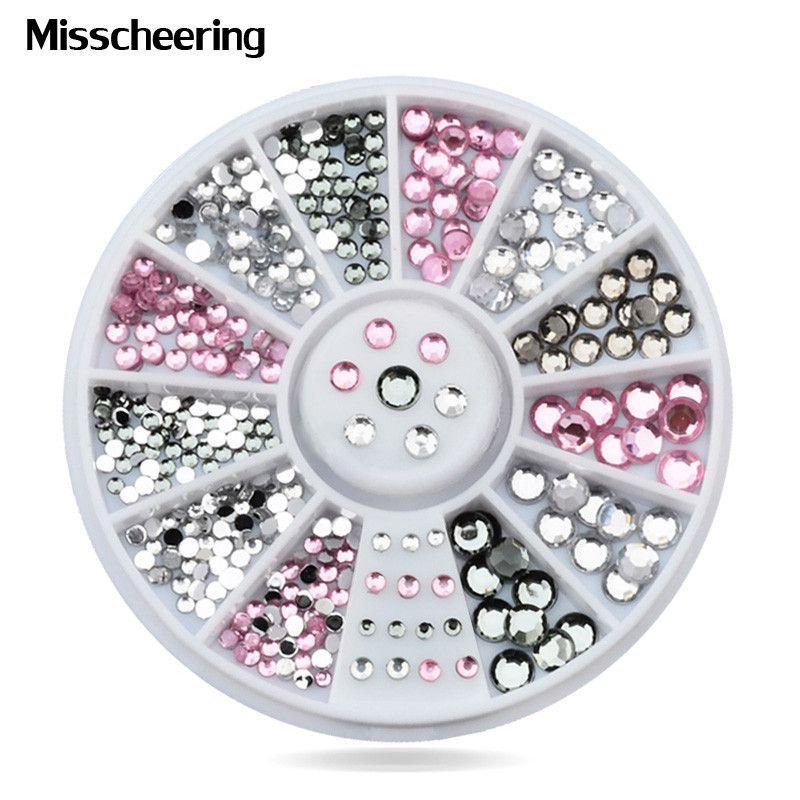 New Mix Sizes Crystal Pink Grey 3d Glitter Nail Art Tips Rhinestone ...