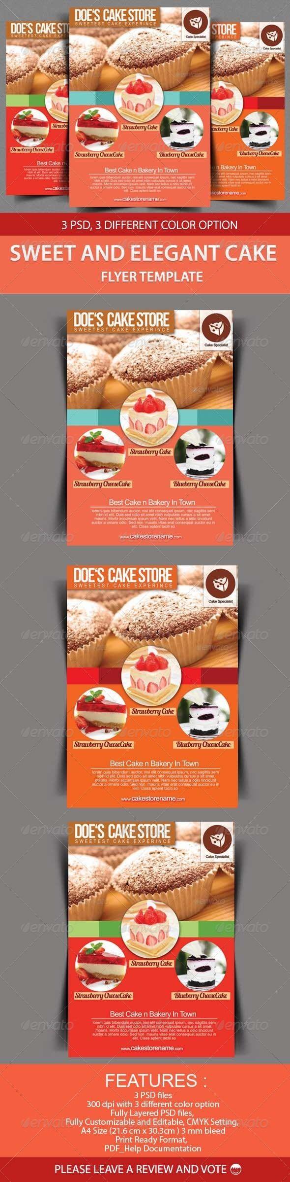 sweet and elegant cake flyer template brochure design pinterest