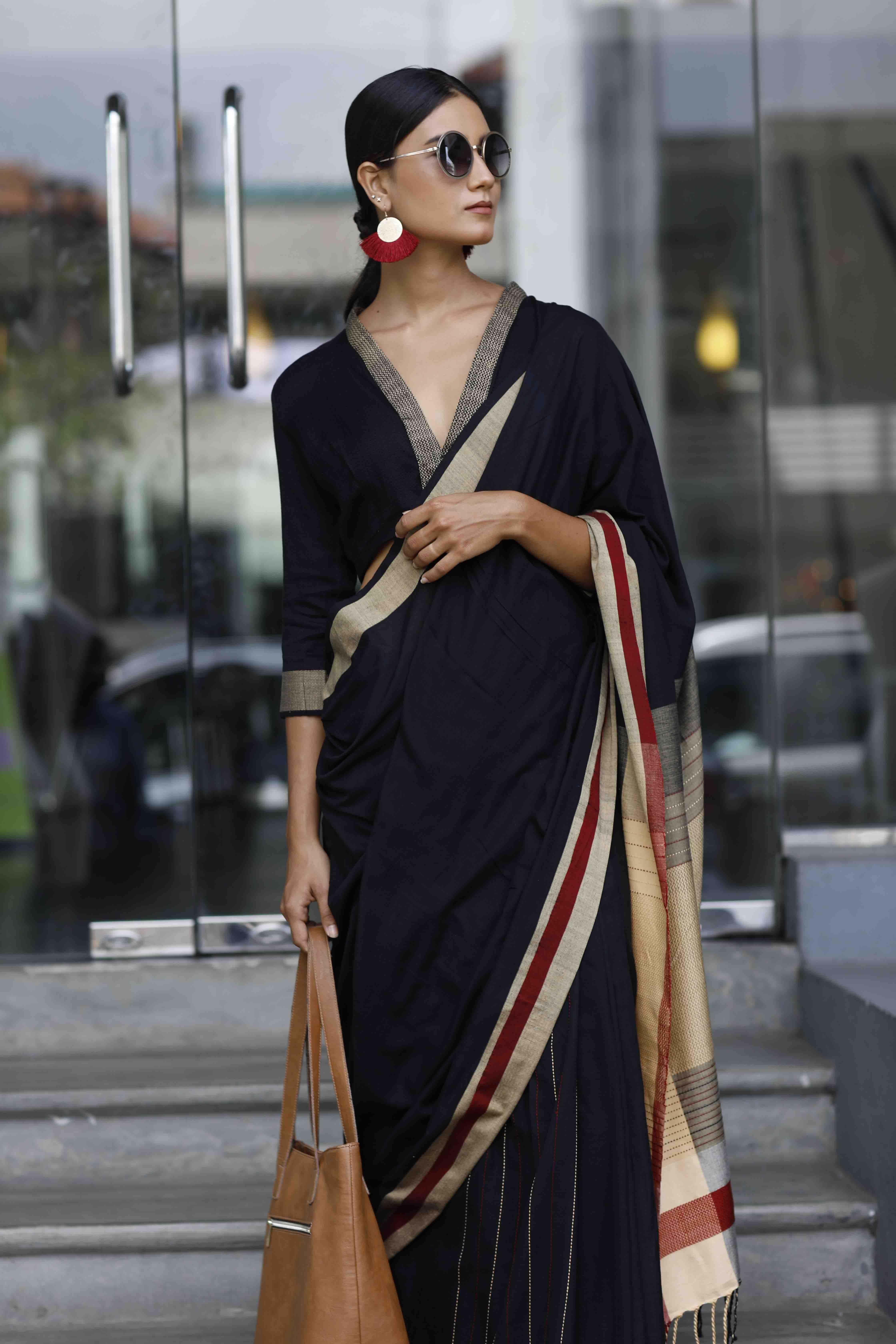 Work Wear Hand Woven Handloom Saree Drape Design Blouse Designs Indian Fashion Blouse Designs