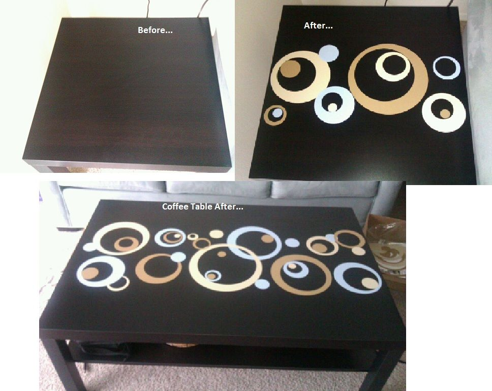 Turned my cheap ikea lack side and coffee tables into unique pieces by adding vinyl circle decals