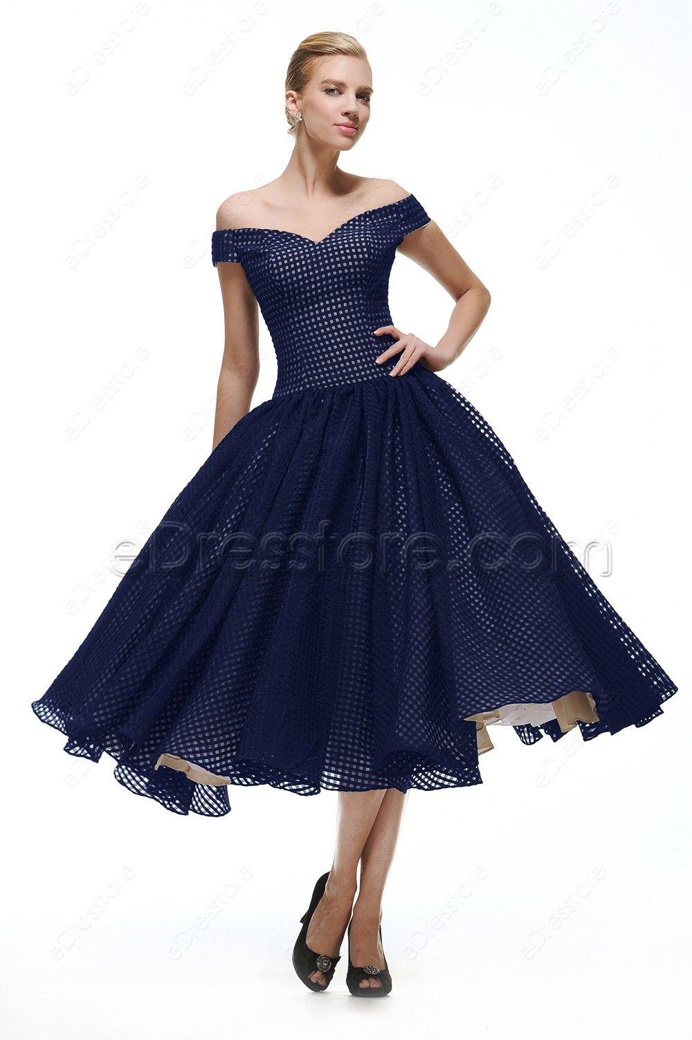 6dadf11e6e42 Off the Shoulder Navy Blue Vintage Prom Dresses Tea Length in 2019 ...