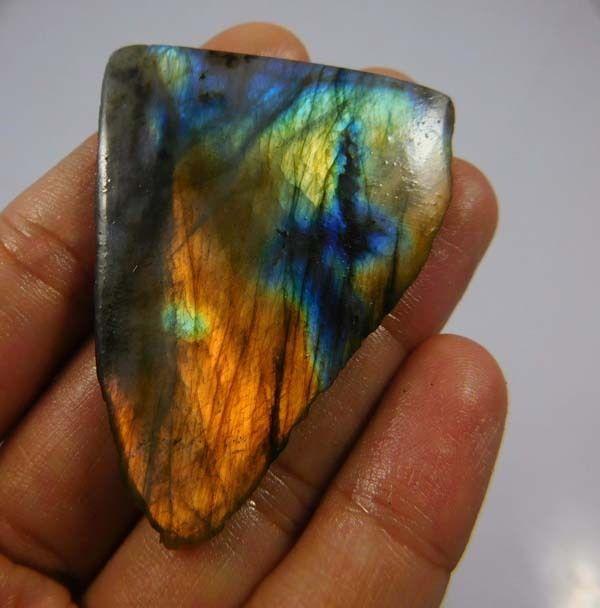 90 Cts. 100% Natural Rainbow Flashy Labradorite Slice Mineral Specimen (NH242) #NagmaGems