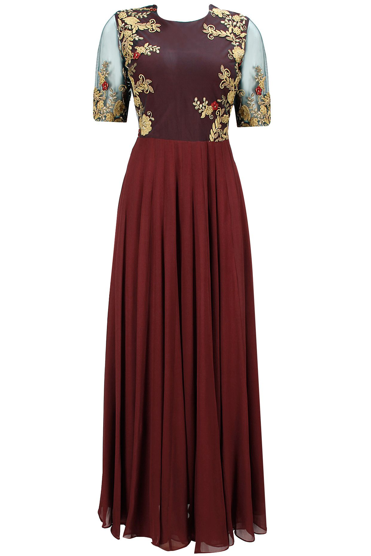 Maroon and teal green embroidered anarkali set available only at Pernia's Pop-Up Shop.