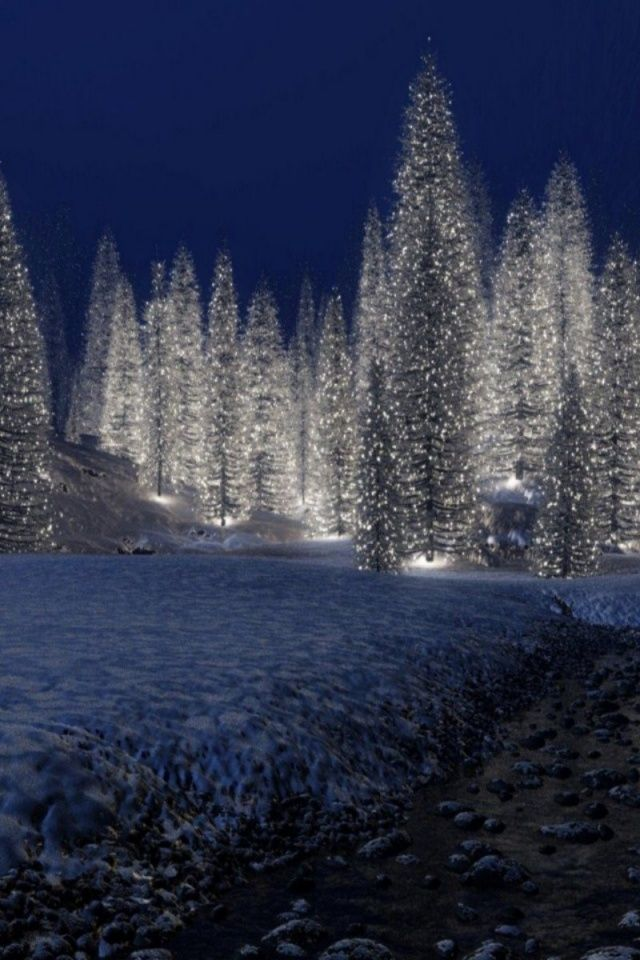 Snowy Christmas Scene Wallpaper iPhone Wallpapers