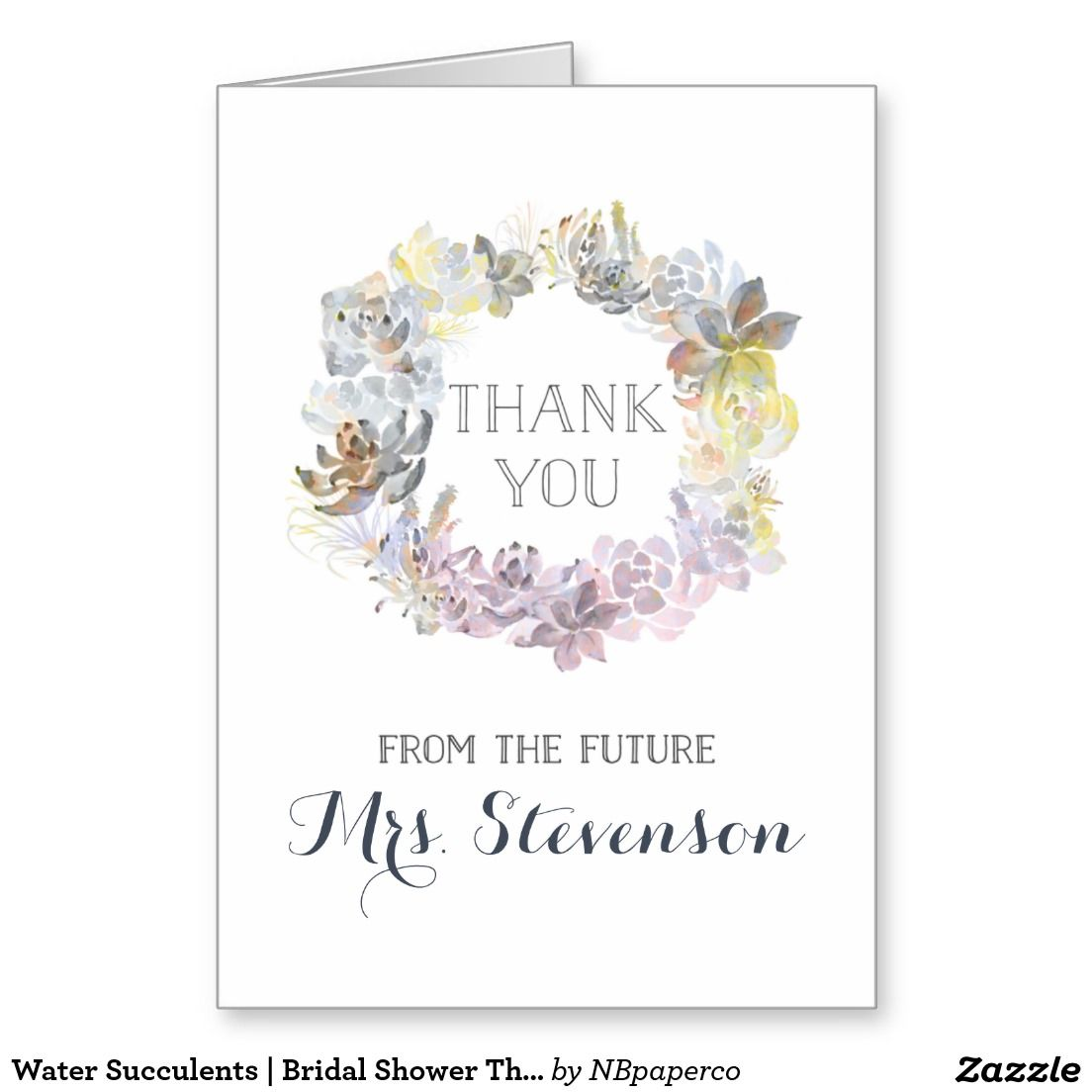 Water Succulents | Bridal Shower Thank You Stationery Note Card