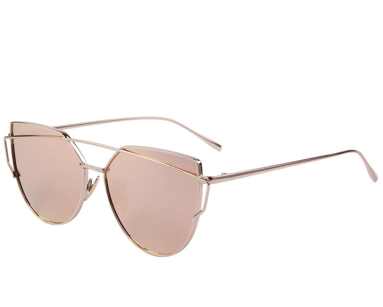 c55ec2ecc9 Amazon.com  MERRY S Fashion Women Cateye Sunglasses UV Protection eye  glasses Coating Mirror Flat Panel Lens UV400 S7882 (Pink