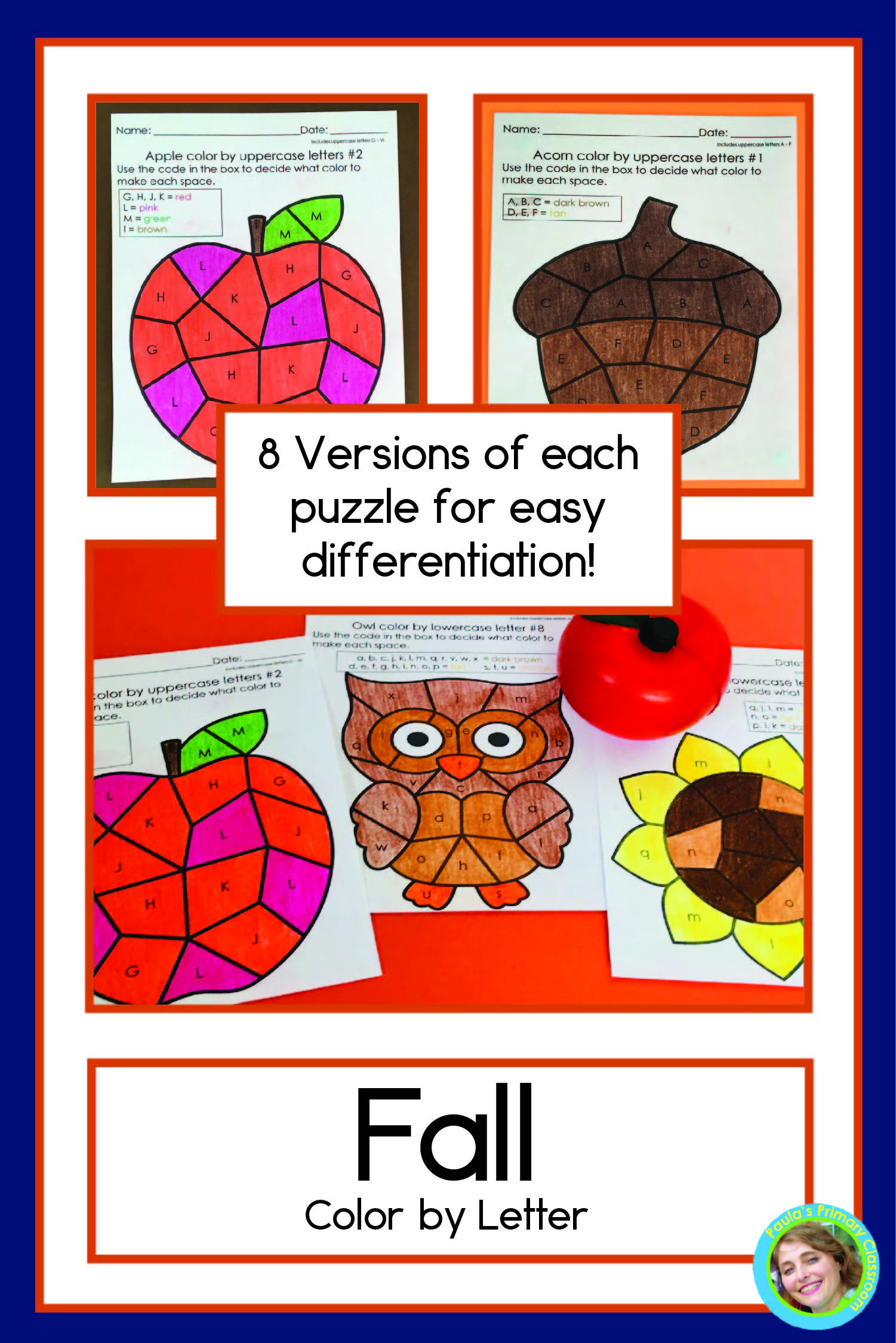 Fall Color By Letter Worksheets With Upper And Lower Case
