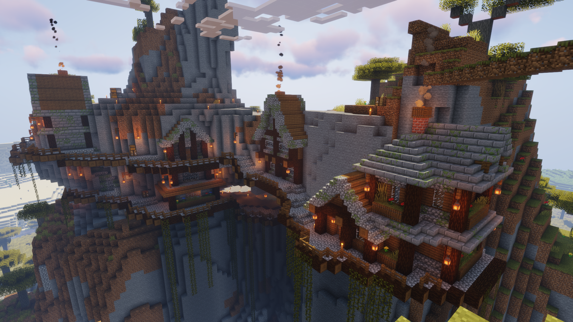 Mountain side village I made in survival : Minecraft ...