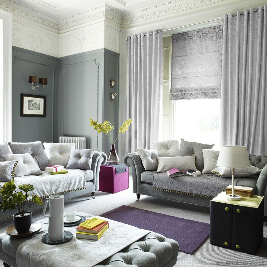Living Room Blinds And Curtains. Shimmering silver grey luxury curtains and roman blind  Living Room For the