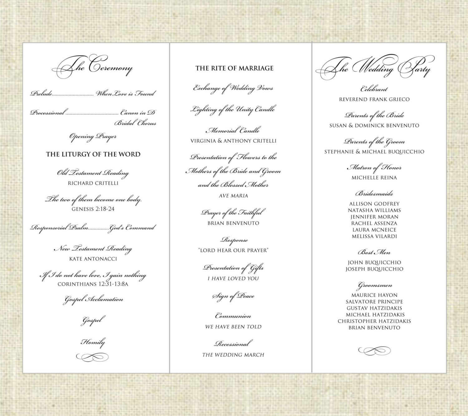 tri fold wedding program templates